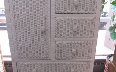 White Wicker 5 Drawer 1 Door