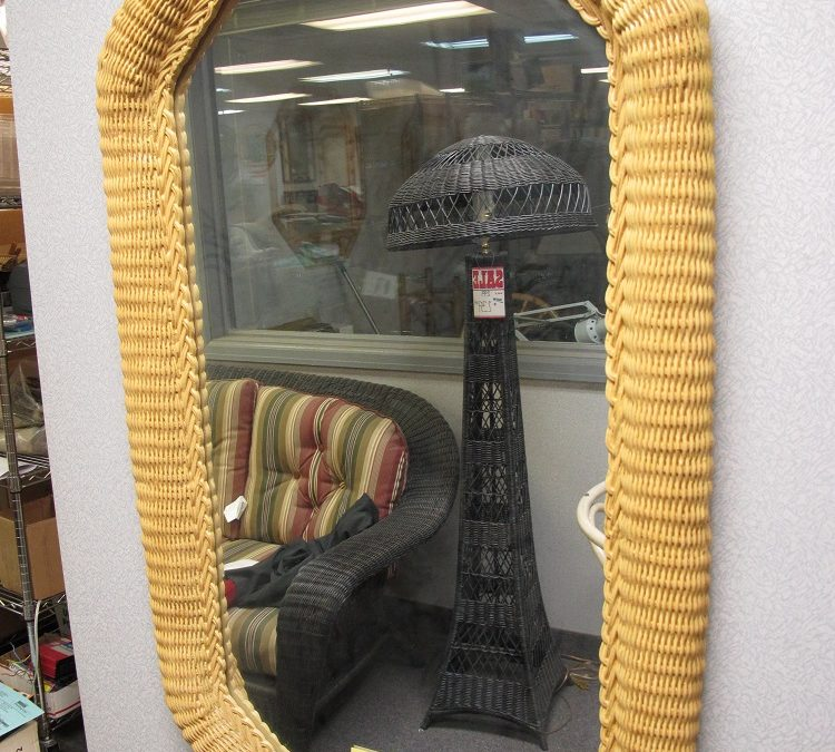ceramic wicker mirror