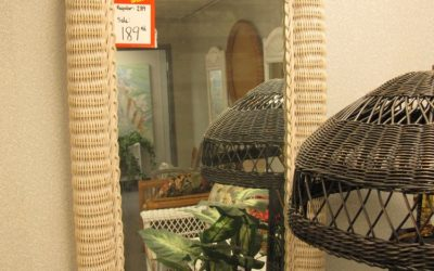 wicker oval mirror