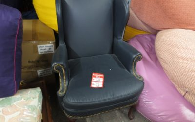 Blue Leather Arm Chair