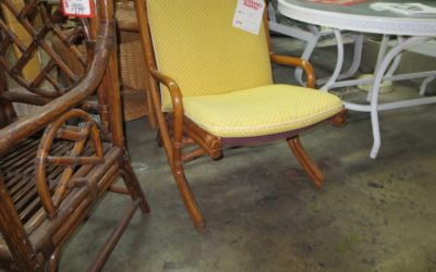 Simple Rattan Folding Chair with Yellow Cushion