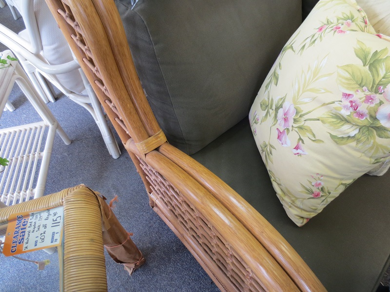 rattan wood couch